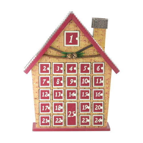 """15"""" Red and Beige House with Advent Calendar Tabletop Christmas Decoration - IMAGE 1"""