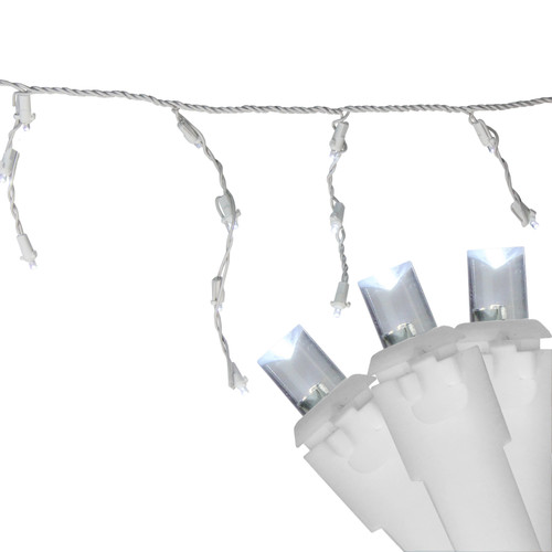 100 White LED Wide Angle Christmas Icicle Lights - 5.5 ft White Wire - IMAGE 1