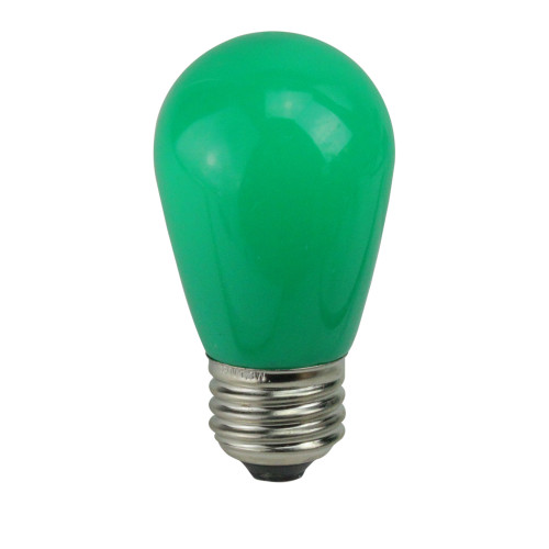 Pack of 25 Opaque LED S14 Green Christmas Replacement Bulbs - IMAGE 1