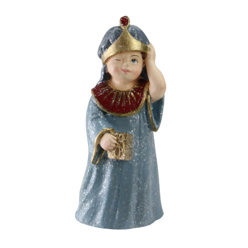 """5.5"""" Gray and Gold Glittered Wise-Man Child with Present Christmas Nativity Figurine - IMAGE 1"""