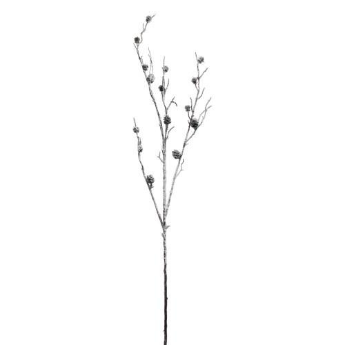 """42"""" White and Brown Sparkling Frosted Pinecone Twig Branch - IMAGE 1"""