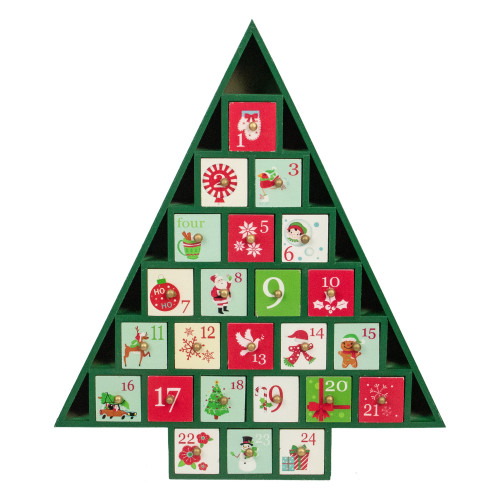 15 Green Tree Shaped Christmas Advent Calendar Decoration - IMAGE 1