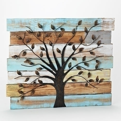 "Set of 2 Distressed Wooden Panel Wall Decor with Iron Tree 23.5"" - IMAGE 1"