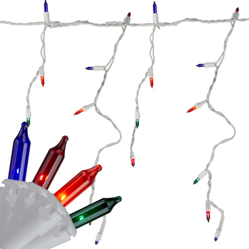 Icicle Christmas Lights.Set Of 150 Multi Color Mini Icicle Christmas Lights 3 Spacing White Wire 32603843