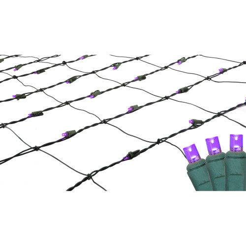 4' x 6' Purple LED Wide Angle Net Style Christmas Lights - Green Wire - IMAGE 1