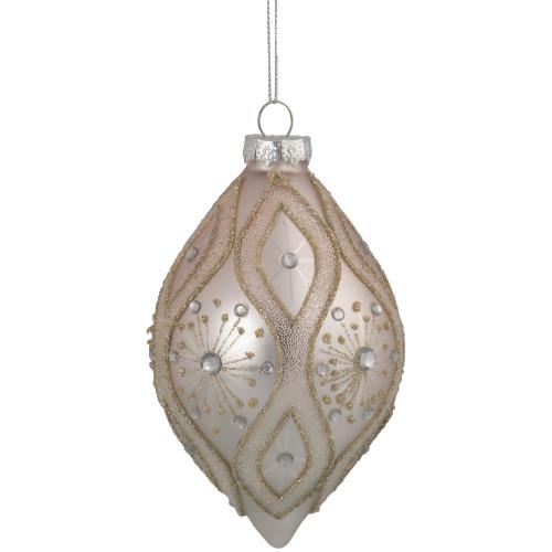 "5.5"" Rose Gold Retro Ombre Glass Christmas Drop Ornament - IMAGE 1"