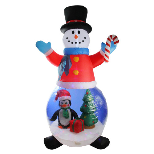 8' Pre-Lit Inflatable Snowman and Penguin Christmas Globe Outdoor Decoration - IMAGE 1