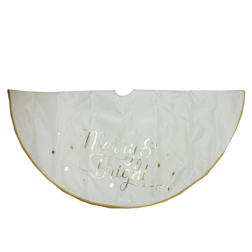 """48"""" Ivory White Merry and Bright Christmas Tree Skirt - IMAGE 1"""