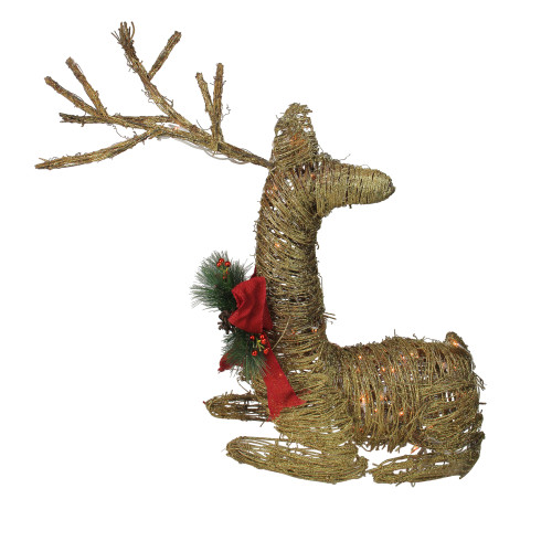 "30"" Pre-Lit Gold Reindeer with Bow Outdoor Christmas Decor - IMAGE 1"