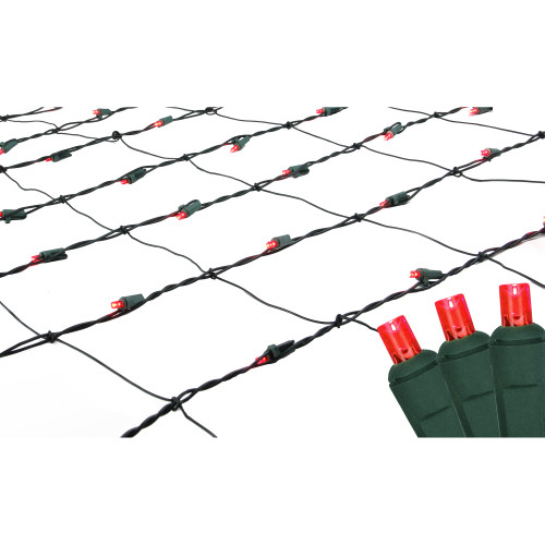 4' x 6' Red LED Wide Angle Net Style Christmas Lights - Green Wire - IMAGE 1