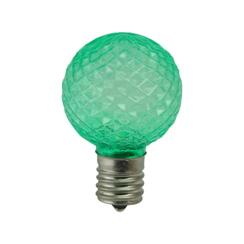 Pack of 25 Faceted LED G40 Green Christmas Replacement Bulbs - IMAGE 1