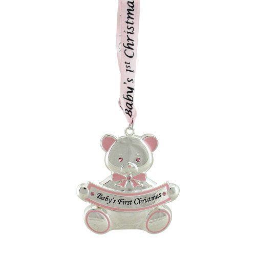 "3"" Pink and Silver Teddy Bear 'Baby's First Christmas' Ornament - IMAGE 1"