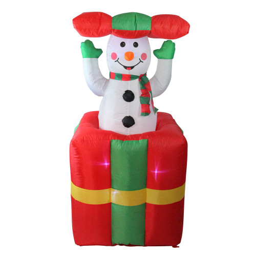 5' Lighted Inflatable Pop Up Snowman in Gift Box Christmas Outdoor Decoration - IMAGE 1
