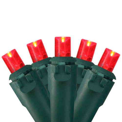 50 Red LED Wide Angle Christmas Lights - 16.25 ft Green Wire - IMAGE 1