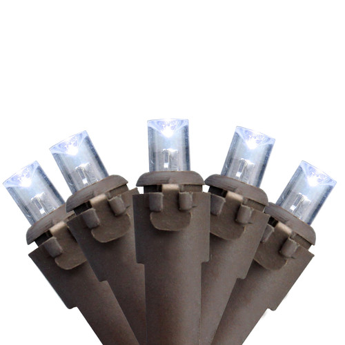 50 White LED Wide Angle Christmas Lights - 16.25 ft Brown Wire - IMAGE 1
