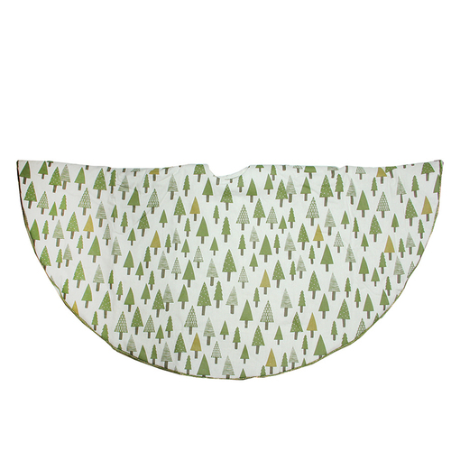 """48"""" Cream White and Green Forest Christmas Tree Skirt - IMAGE 1"""