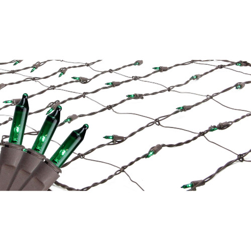 2' x 8' Green Mini Net Style Tree Trunk Wrap Christmas Lights - Brown Wire - IMAGE 1