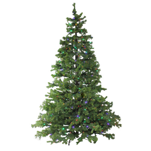 7.5' Pre-Lit Full Layered Pine Artificial Christmas Tree - Multicolor LED Lights - IMAGE 1