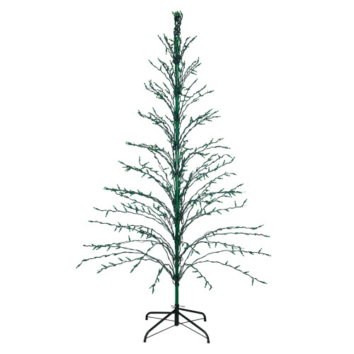 6' Pre-Lit Green Cascade Twig Tree Christmas Outdoor Decor - Green Lights - IMAGE 1