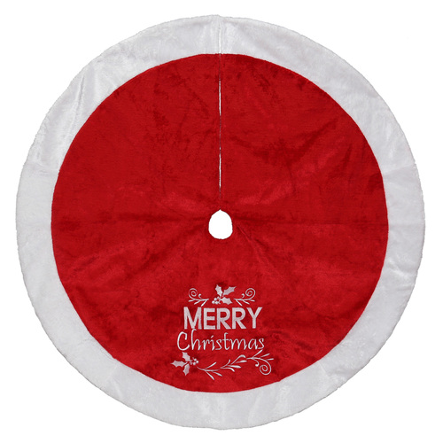 "48"" Red and White 'Merry Christmas' Embroidered Tree Skirt Christmas Decor - IMAGE 1"