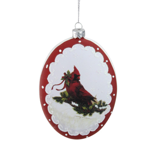 """5"""" White and Burgundy Cardinal with Holy and Berry Glittered Christmas Tree Ornament - IMAGE 1"""