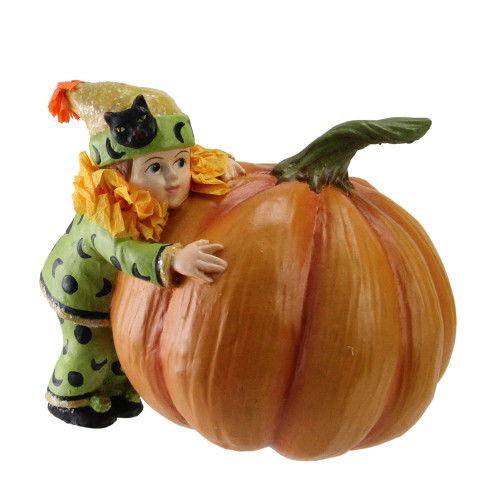 "5"" Green and Orange Child with Pumpkin Halloween Tabletop Figurine - IMAGE 1"