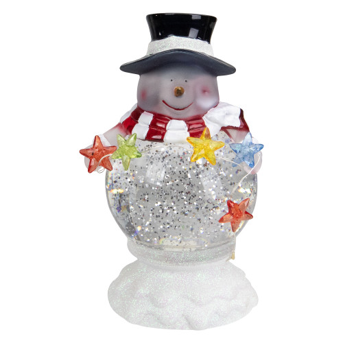 "7.5"" White Battery Operated LED Snowman Glittering Snow Dome Christmas Tabletop Decor - IMAGE 1"