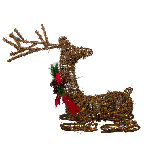 """30"""" Brown Lighted Rattan Reindeer with Red Bow and Pine Cones Christmas Outdoor Decoration - IMAGE 1"""