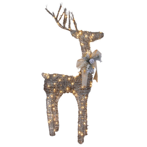 """48"""" Brown Light Standing Reindeer with Bow and Pine Cones Christmas Outdoor Decor - IMAGE 1"""
