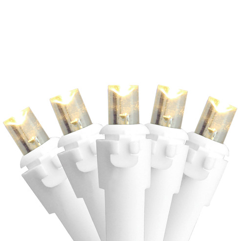 50 White LED Wide Angle Christmas Lights - 16.25 ft White Wire - IMAGE 1