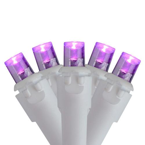 50 Purple LED Wide Angle Christmas Lights - 16.25 ft White Wire - IMAGE 1