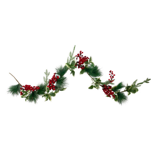 """5' x 5"""" Holly and Pine Springs Artificial Christmas Garland - Unlit - IMAGE 1"""