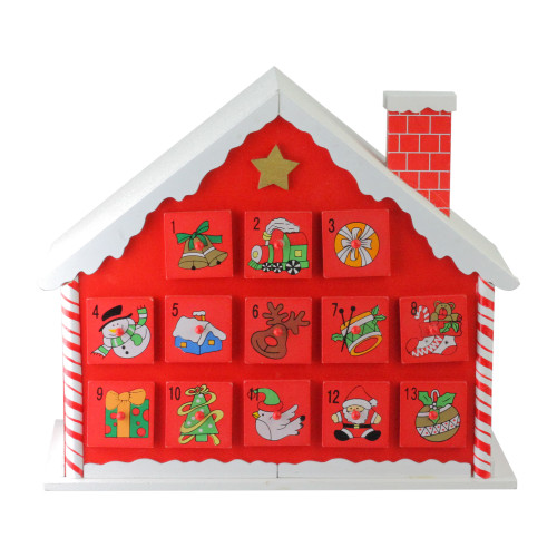 "10.25"" Red and White Advent House with Chimney Storage Box - IMAGE 1"