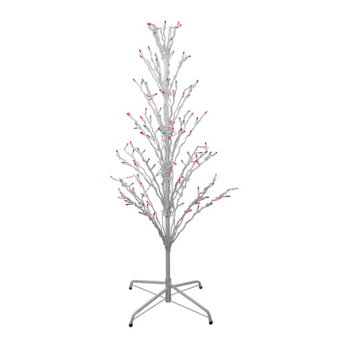 4' White Lighted Christmas Cascade Twig Tree Outdoor Decoration - Multi Lights - IMAGE 1