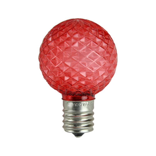 Pack of 25 Faceted LED G40 Red Christmas Replacement Bulbs - IMAGE 1