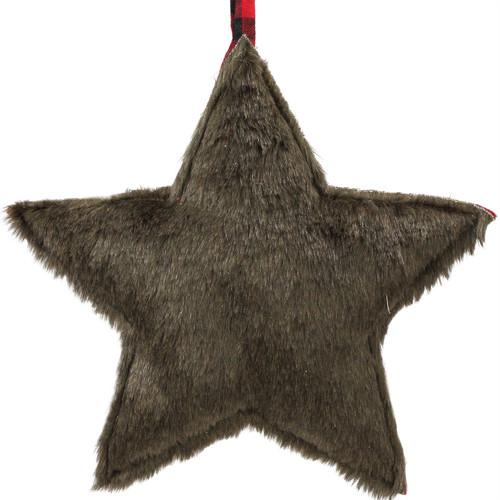 "11.5"" Brown Faux Fur Star Christmas Ornament - IMAGE 1"