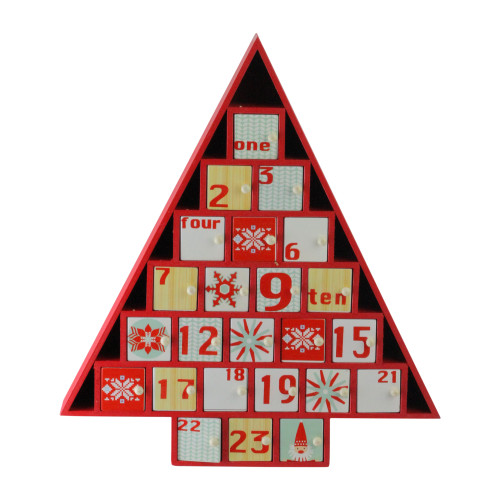 "14.5"" Red and White Christmas Tree Advent Calendar Decor - IMAGE 1"