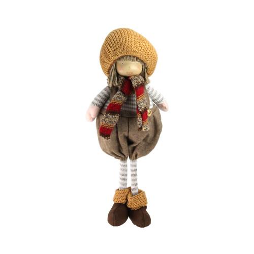 """15.25"""" Brown and Gray Standing Christmas Boy Gnome Figurine - IMAGE 1"""