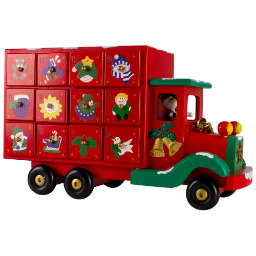 "14"" Red Children Advent Calendar Storage Truck Christmas Decor - IMAGE 1"