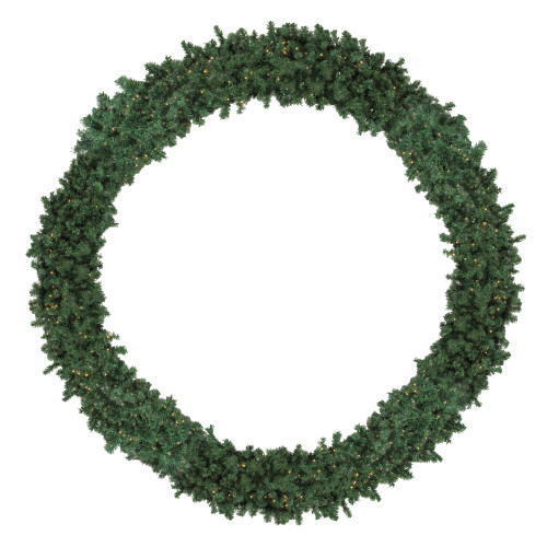 12' Pre-Lit High Sierra Pine Commercial Artificial Christmas Wreath - Clear Lights - IMAGE 1