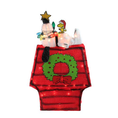 "18"" Pre-Lit Red and Green Snoopy with Star Outdoor Christmas Decor - IMAGE 1"