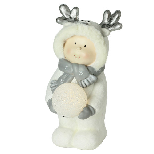 """15.75"""" White Battery Operated Smiling Child Holding LED Lighted Snowball Christmas Figurine - IMAGE 1"""