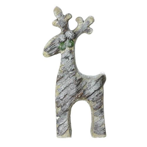 "22"" Gray Rustic Glittered Christmas Reindeer Tabletop Decor - IMAGE 1"