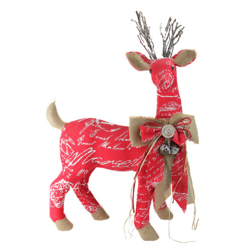 "24"" Red and Brown Reindeer with Bow Christmas Decoration - IMAGE 1"