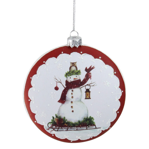"""4"""" White and Red Snowman on Sled Christmas Ornament - IMAGE 1"""