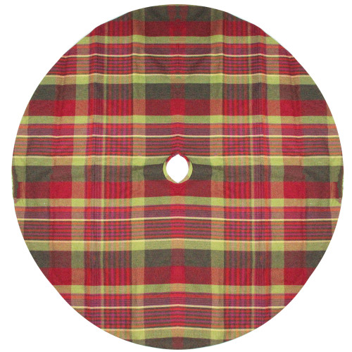 "48"" Red and Green Plaid Rustic Woodland Christmas Tree Skirt with Green Trim - IMAGE 1"