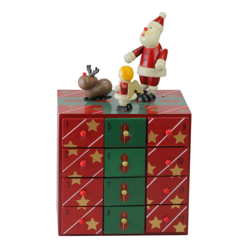 "10.5"" Red and Green Elegant Advent Storage Calendar Box - IMAGE 1"