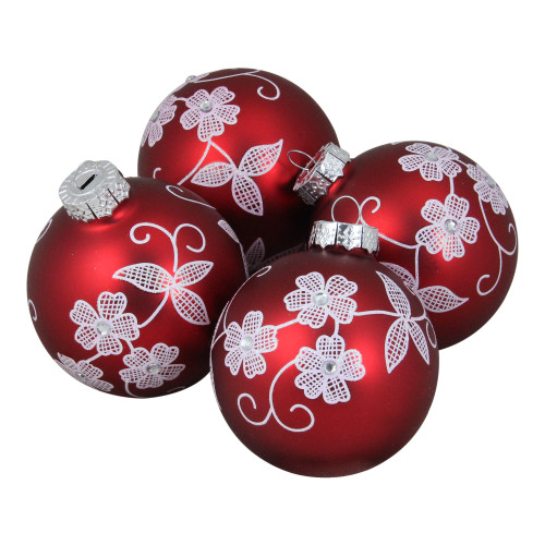 """4ct Red and White Floral Christmas Ball Ornaments 3.25"""" (100mm) - IMAGE 1"""