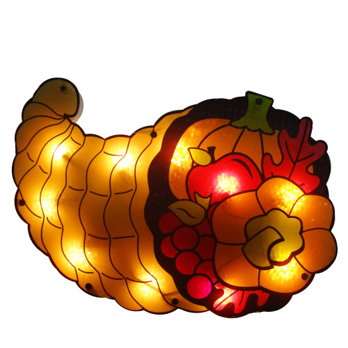 """16"""" Gold and Red Lighted Cornucopia Thanksgiving Window Silhouette Decoration - IMAGE 1"""