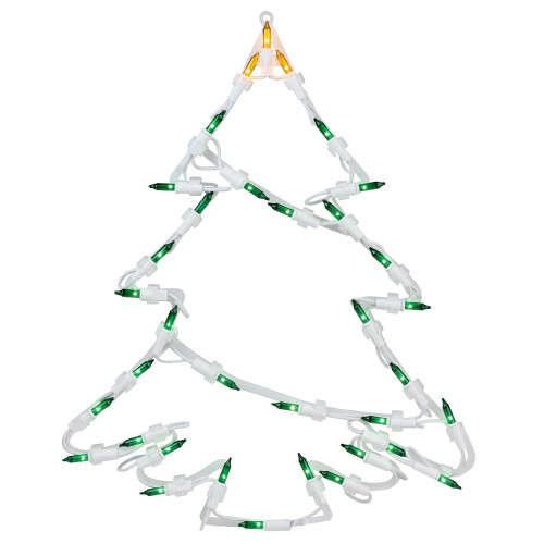 """15"""" Green and Yellow Lighted Tree Christmas Double Sided Window Silhouette Decoration - IMAGE 1"""